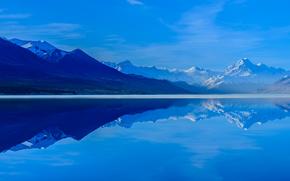 Nuova Zelanda, Lago Pukaki, riflessione, cielo, Isola del Sud, Montagne