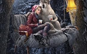 tartes, forêt, SWING, Embrassez, lampe, Le petit chaperon rouge, café, hiver, neige, loup