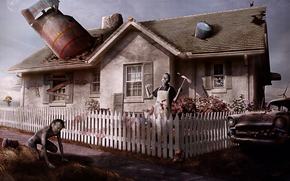 fence, home, nuclear missile, zombie, machine, barrel, postapokalipsis