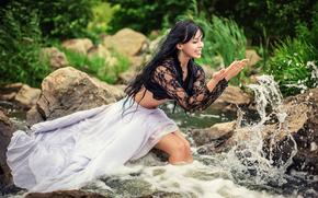 радость, девушка, река, брызги