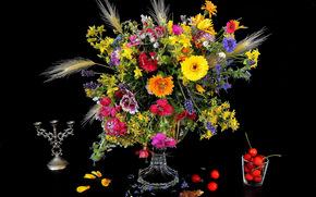 цветы, ваза, черешня, натюрморт