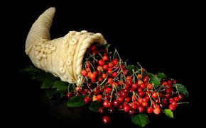 черешня, рожок, ягоды, натюрморт
