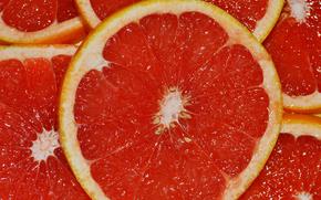 juicy, red, grapefruit, citrus, slices