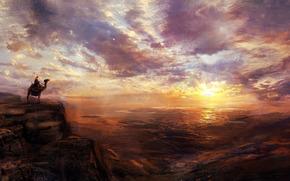 небо, человек, закат, верблюд, животное, любуется, пейзаж, живопись, красота