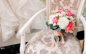 silla, ramo de novia, velo, boda