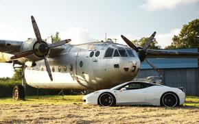black wheels, white, plane, Ferrari, Italy, Ferrari, profile