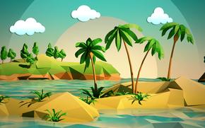 nubes, mar, paisaje, Palms, árboles, cielo, isla