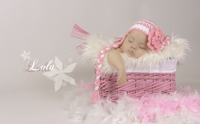 girl, baby, basket, plumage, Beanie, dream, spaschaya