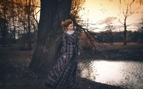 осень, парк, Светлана Корулёва, девушка, платье