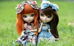 Mädchen, Brünette, Redhead, Zwei, Puppen, Haar, Kleider, Bogen, Makro., Spielzeug, Gras