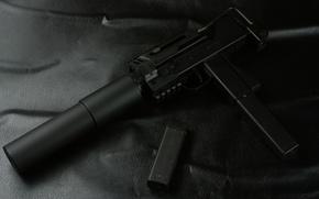 silenciador, arma, compacto, metralhadora de mão