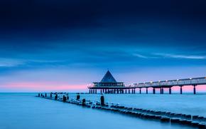 sky, SEAGULLS, PEARCE, sea, birds, shore, bridge, supports, morning, clouds, blue, blue, lighting, pink, lights