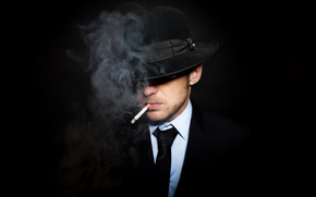 smoke, fullscreen, suit, wallpaper, black background, Widescreen, background, man, cigarette, hat, tie, Widescreen