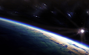 рассвет, звезды, планета, вселенная, атмосфера