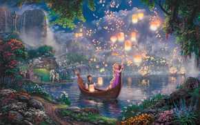 огни, Паскаль, ночь, фонарики, парус, лодка, сказка, Максимус, замок, Рапунцуль, принцесса, Матушка Готель, плавающие фонарики, Дисней, Флинн, мост, цветы, звездеое небо, Братья Гримм, дворец, озеро, живопись