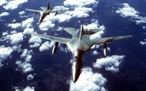 облака, тактический бомбардировщик, пара, крыло изменяемой стреловидности, небо, полет
