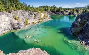 río, lago, naturaleza, bosque, Rocas, verano