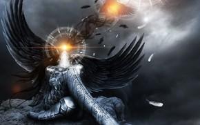light, wings, bird, angel, fantasy, raven, stone, pose, girl, plumage