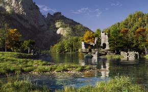 горы, руины, пейзаж, ручей, трава, рендер