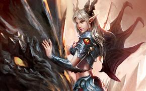 armor, Horns, dragon, girl, pointy ears