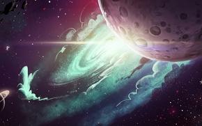 meteoriti, Stella, spazio, Art, Planet