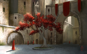 арка, листва, двор, дерево, арт, замок, город, рясы, люди, красная