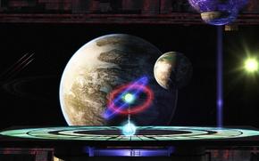 космос, проекция, орбита, Взгляд в Окно, звёзды, планеты, спутники, солнца, астероидный пояс