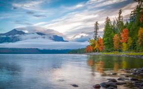 autunno, Montagne, nuvole, riflessione, lago, foresta, natura