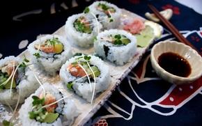 cucumber, Japanese cuisine, rolls, crab, sushi, salmon, Japan, sushi, FISH, seafood, rice, avocado, greens