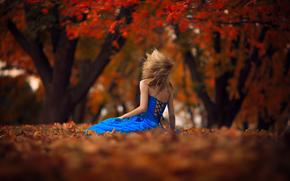 ветер, девушка, боке, листья, осень, платье