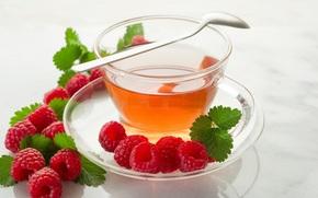 cup, tea, spoon, raspberries