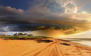 tempesta tropicale, NUVOLE, nuvole, L'Australia, spiaggia, cielo