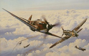 German, Gustav, sky, Yakovlev, war, single-engined, turn, Soviet, clouds, piston, fight, fighter, Art