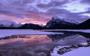 Банф, облака, утро, Канада, горы, озеро, небо, отражение, рассвет, Альберта, Национальный Парк