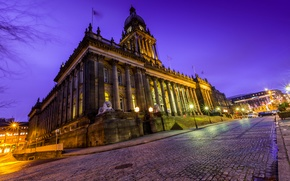 Leeds city in Yorkshire, River Ayr, third largest city in the UK, Leeds at Night