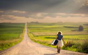дорога, девочка, путь, чемодан, простор