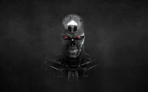 cráneo, terminator, fondo negro, ESQUELETO, robot