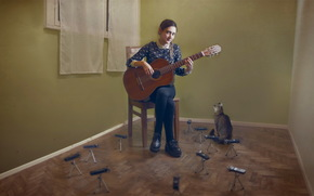 girl, Music, cat, guitar