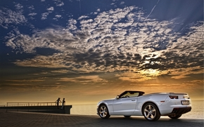 sunset, sky, sea, clouds, white, machine, Chevrolet, cabriolet