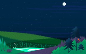 лес, луна, дома, елки, Звезды, медведи, озеро
