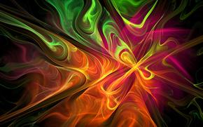 цвет, свет, дым, фрактал, узор, газ