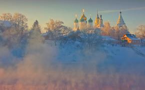 архитектура, река, церковь, монастырь, старая коломна, зима, природа, храм, рассвет, дома, коломна, мороз, деревья, небо