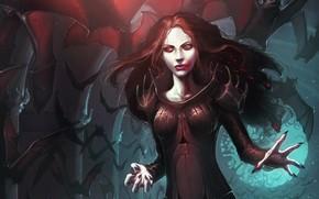 девушка, вампир, арт, кровь, летучие мыши