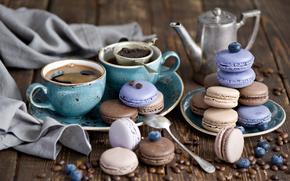 tazas, café, galletas, arándanos, macarrón, naturaleza muerta, dulces, BERRY, postre, servicio, Grano, percolador, vidriado