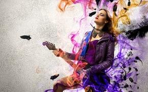 chica, Música, rock, fumar, guitarra