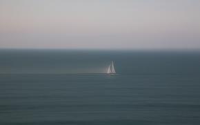 boat, sea, minimalism, sail, haze