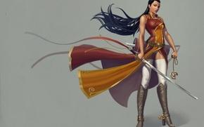 серый фон, сапоги, меч, воин, взгляд, оружие, костюм, длинные волосы, девушка, шипы