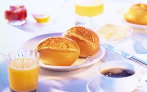 mattinata, succo, tavolo, caffè, posa, Panini, prima colazione, alimento