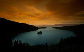 tramonto, Tahoe, crepuscolo, sera, California, lago