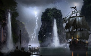 Art, sail, waterfall, ship, Pirates, boat, lightning
